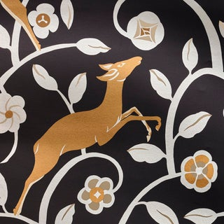 Schumacher Les Gazelles Au Bois Vinyl Wallpaper in Noir (8 Yards) For Sale
