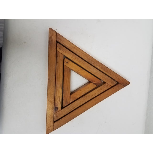 Brown Antique English Wooden Triangular Trivets For Sale - Image 8 of 8