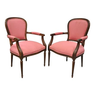 Ethan Allen Louis XVI French Style Pink Armchairs Fauteuil Chairs - A Pair For Sale