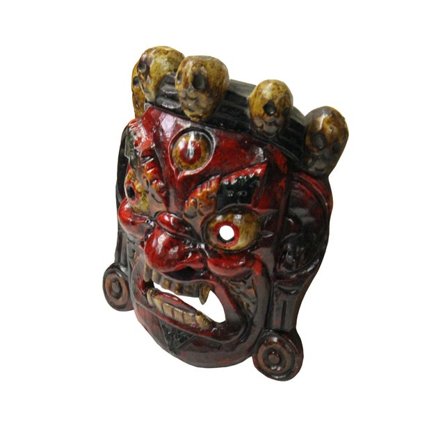 Traditional Hand Craved Vintage Tibetan Traditional Ceremony Solid Wood Mask For Sale - Image 3 of 6