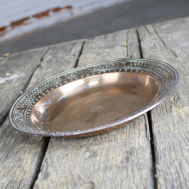 Copper Turkish Ottoman Antique Copper Plate or Dish Hand Forged and Hand Chiseled Tinned For Sale - Image 8 of 13
