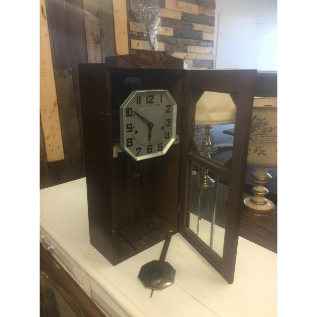 19th Century Antique French Tall Oak Clock Case and Non Working Clock For Sale - Image 12 of 12