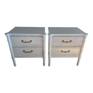 1970s Vintage Thomasville White Faux Bamboo Nightstands- A Pair For Sale