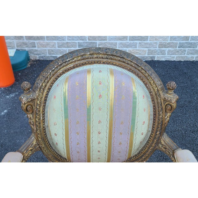 Early 19th Century Fine Early 19th Century French Louis XVI Style Gilded Parlor Armchair For Sale - Image 5 of 12