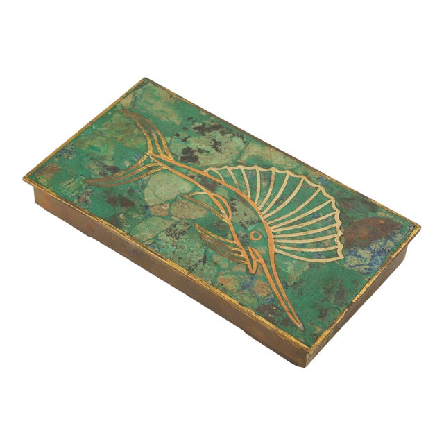 Mexican Brass Box With Resin Inlay Fish For Sale