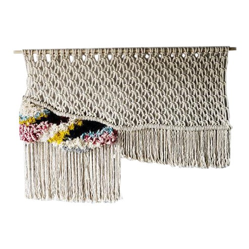 Modern Boho Chic Macrame Wall Hanging For Sale