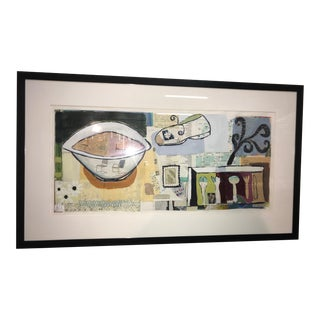 """Original """"New Time"""" Framed Mixed Media Painting on Paper by Gary Nisbet For Sale"""
