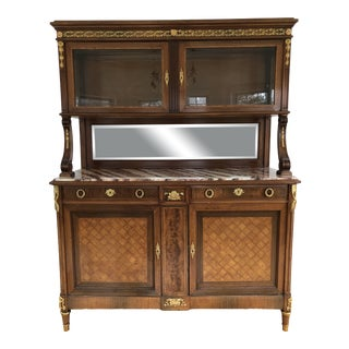 Antique French Louis XVI Style Marble Top Sideboard Mirrored Back & Hutch China Cabinet For Sale