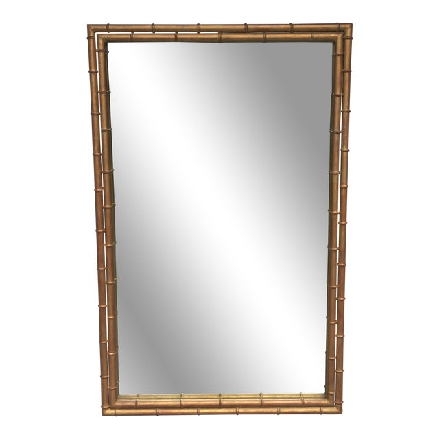 1970s Hollywood Regency Gilt Faux Bamboo Large Mirror For Sale