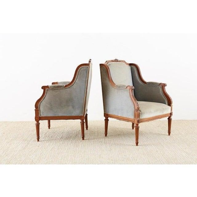 Pair of French Louis XVI Style Walnut Bergère a Oreilles For Sale - Image 10 of 13