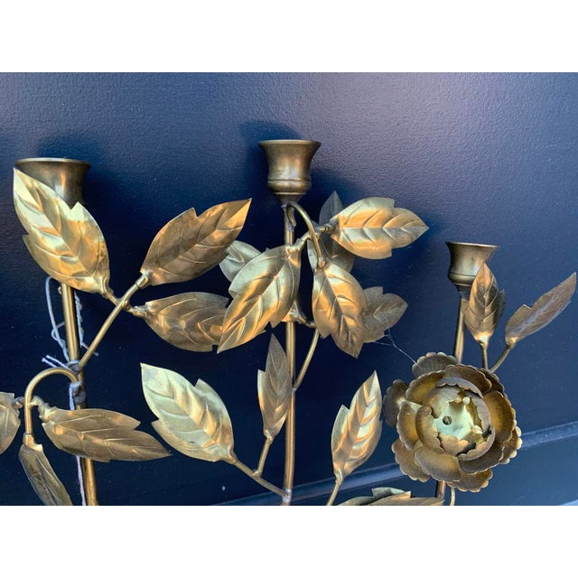 1960 Vintage Italian Brass Candle Wall Sconce For Sale - Image 4 of 5