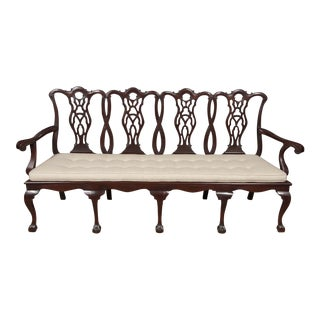 Mahogany Carved Back Four Seater Settee For Sale