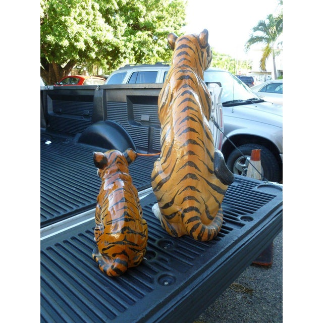 1970s Pair of Large Mid-Century Italian Glazed Terracotta Tigers, Mother and Her Cub For Sale - Image 5 of 13