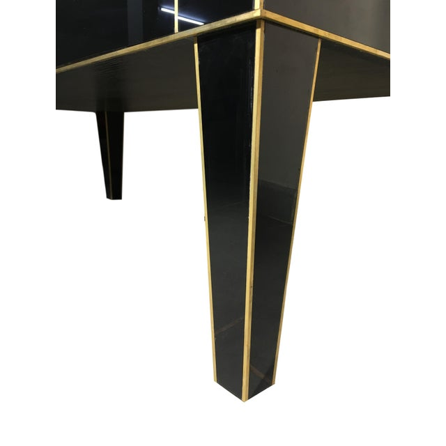 2010s Handmade Mirrored Commode or Chest of Drawers, Volcanic Rock and Brass Inlay For Sale - Image 5 of 7