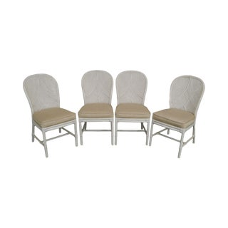 McGuire of San Francisco Vintage White Painted Rattan Set of 4 Dining Chairs For Sale