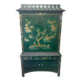 Emerald Green Lacquer Asian Chinoiserie Secretary Desk China Cabinet Armoire For Sale