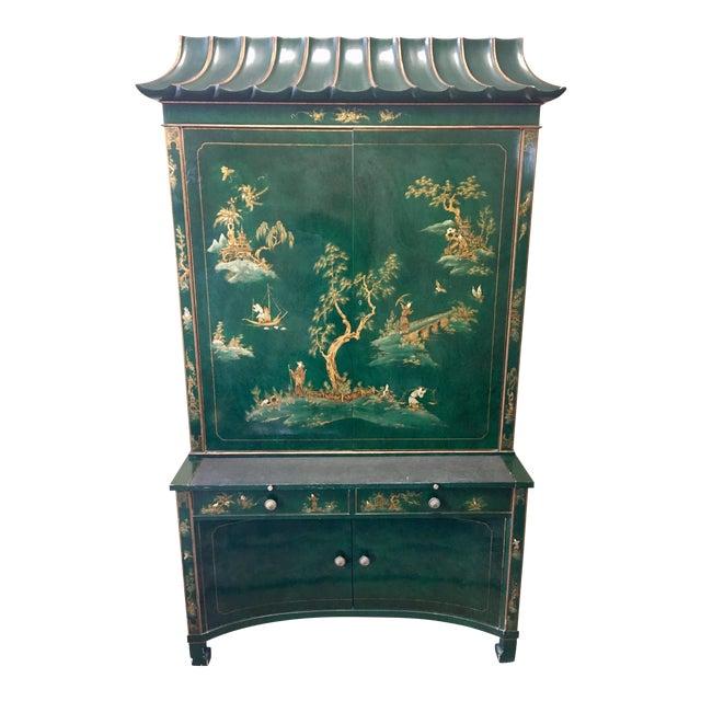 Emerald Green Lacquer Asian Chinoiserie Secretary Desk China Cabinet Armoire For Sale