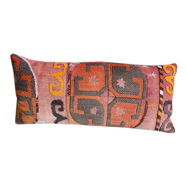 1990s Oblong Pillow Cut From Handmade Antique Rug 3 Available For Sale
