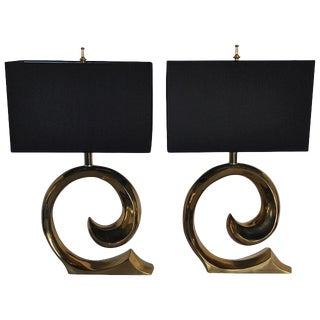 Mid-Century Modern Sculptural Brass Table Lamps, Pair For Sale