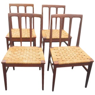 Set of 6 Midcentury Danish Rosewood and Woven Dining Chairs For Sale
