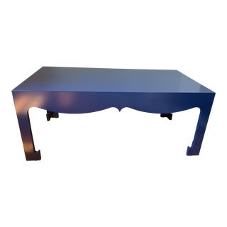 Art Deco Bungalow 5 Jordan Blue Lacquered Wood Coffee Table For Sale