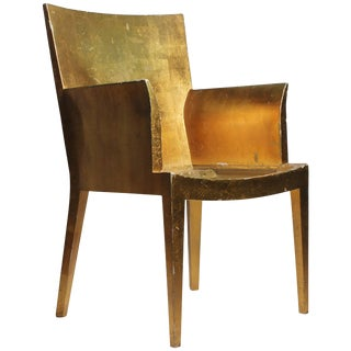Vintage Karl Springer Jmf Applied Gold Leaf Armchair (Gilt) For Sale