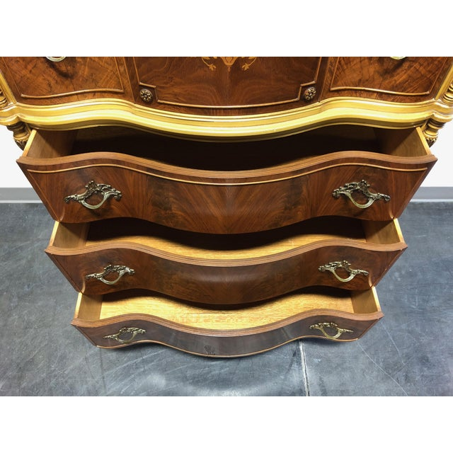 Vintage French Provincial Louis XV Style Inlaid Mahogany Chest on Chest For Sale - Image 9 of 13