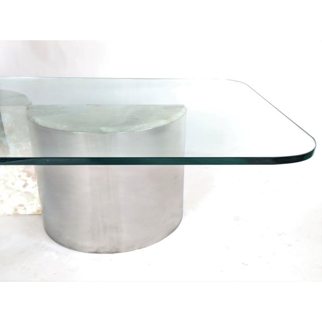 1970s Aluminum and Onyx Coffee Table For Sale - Image 5 of 7