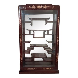 Vintage Chinese Oriental Curio Mirrored Back French Red Lacquer Display Wall Cabinet For Sale