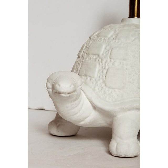 Modern White Plaster Turtle Table Lamp For Sale In Miami - Image 6 of 11