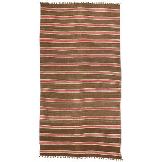 1960's Vintage Striped Kilim Rug, Wide Hallway Runner - 5′2″ × 10′8″ For Sale