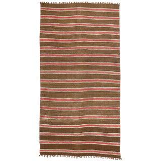 1960's Vintage Striped Kilim Rug, Wide Hallway Runner - 5′2″ × 10′8″ For Sale