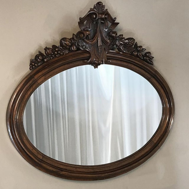 19th Century French Louis XVI Walnut Oval Mirror For Sale - Image 11 of 13
