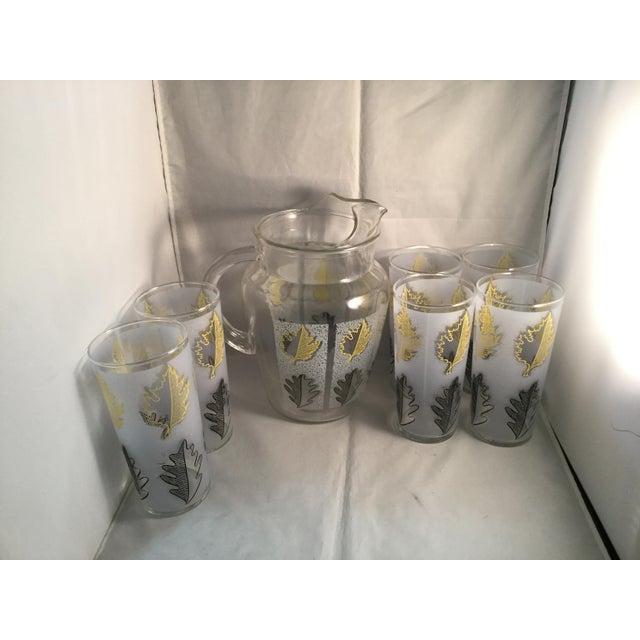 Vintage Gold Leaf Water Pitcher and Glasses - Set of 7 For Sale - Image 4 of 9