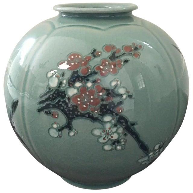 20th Century Korean Celadon Porcelain Vase Artist Signed Chairish