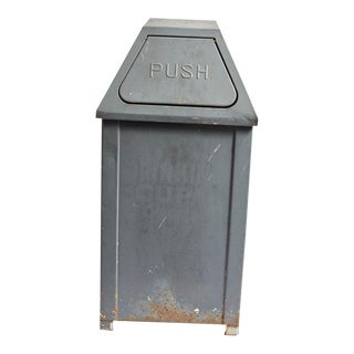 Vintage Grey Steel Trashcan
