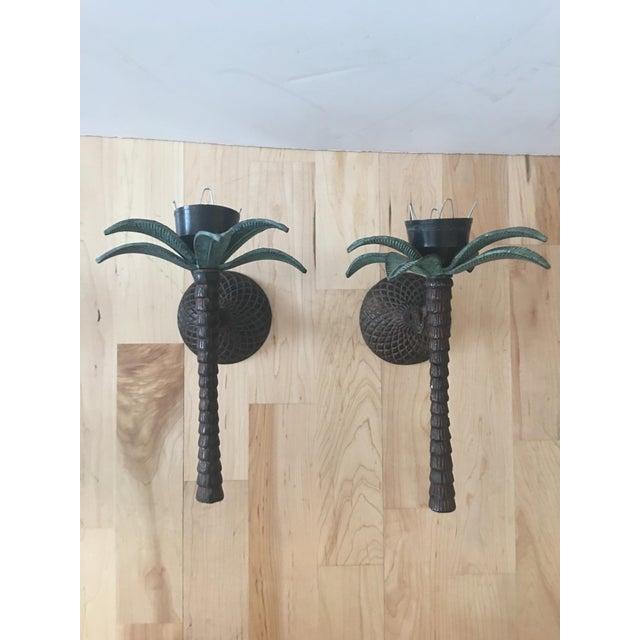 Cast Iron Palm Tree Sconces - A Pair - Image 3 of 8