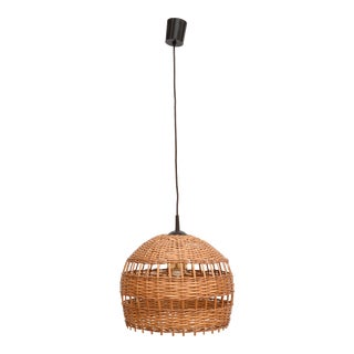 1960s Ceiling Lamp With Wicker Lampshade, Poland For Sale