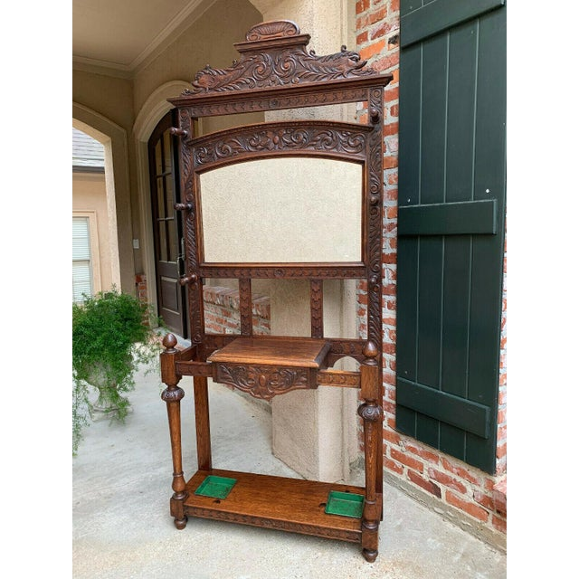 Brown Antique English Renaissance Carved Oak Hall Tree Stand Dome Mirror Coat Hat Rack For Sale - Image 8 of 13