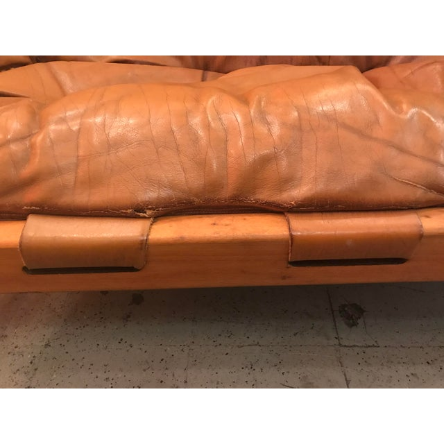 Vintage Mid Century Cognac Brown Leather Sofa For Sale In Seattle - Image 6 of 13