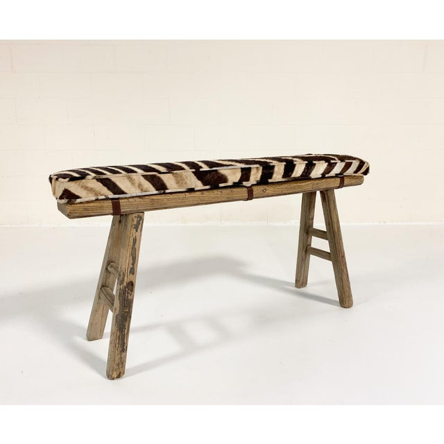 Chinese Elmwood Bench With Zebra Cushion For Sale In Saint Louis - Image 6 of 6