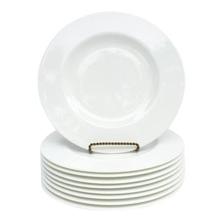 "Villeroy & Boch ""Royal"" White Bone Porcelain 12-Inch Dinner Plates - Set of 9 For Sale"