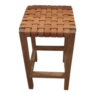 Modern Leather Strap Counter Stool For Sale