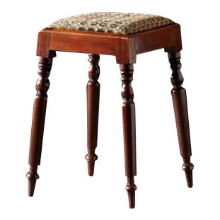 English Needlepoint Stool With Turned Legs For Sale