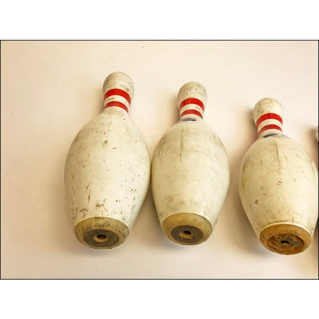 Vintage White Bowling Pins - Set of 4 For Sale - Image 9 of 10