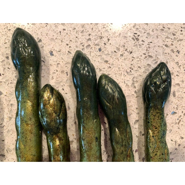 Shabby Chic Hand-Painted Ceramic Asparagus- Set of 7 For Sale - Image 3 of 7