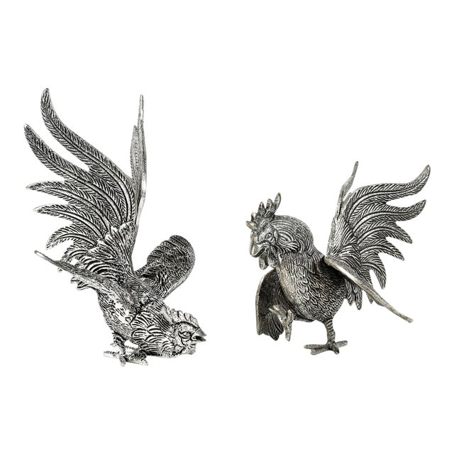 Pair of English Silver Plate Roosters For Sale