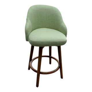 Custom Upholstered West Elm Mid Century Bar Stools - Set of 3 For Sale