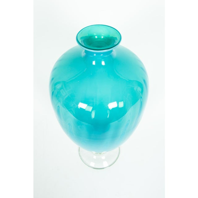 Turquoise Mid-Century Modern Venetian Decorative Vase For Sale - Image 8 of 10