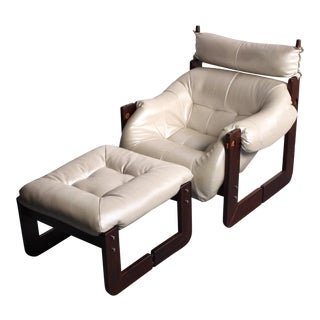 Percival Lafer Rosewood Framed Lounge Chair & Ottoman in Pearlescent Ivory For Sale